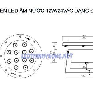 Đèn Led đài phun nước 12W 2