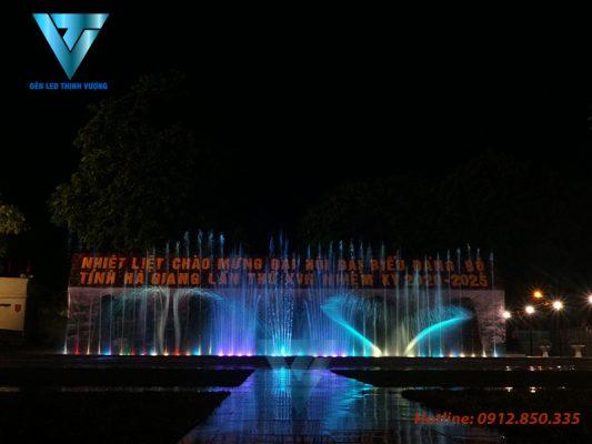 Đèn led âm nước lắp đặt nhạc nước tại quảng trường Hà Giang
